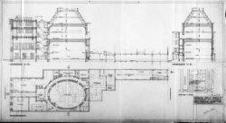 Ontwerptekeningen met aanzichten, plattegronden, doorsneden en silhouet; nr. 1