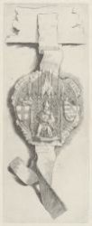 Ets naar een middeleeuws zegel met afbeelding van een Kerkvader