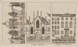 Ronde Lutherse Kerk, Engelse Episcopale kerk en Franse kerk. Verzamelprent