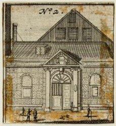 De hoofdingang van de Stadsschouwburg, Keizersgracht 384. Techniek: gravure
