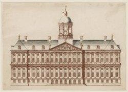 Voorgevel van het Nieuwe Stadhuis op de Dam. Techniek: ets in kleurendruk, Teyle…