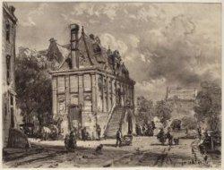Gezicht op de Westermarkt met de Westerhal, een waag die in 1857 werd afgebroken…