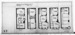 Ontwerptekeningen met aanzichten en plattegronden voor een eerste ontwerp; nr. 4