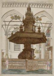 Nieuwe Kerk met het vooraanzicht van de preekstoel van Albert Vinckenbrinck