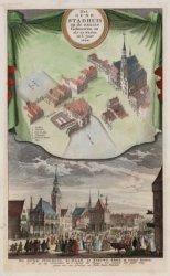 Prent van het oude stadhuis en de naaste gebouwen 1544 en 1615. Gedaan naar een …
