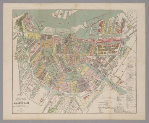 Nieuwe Volledige platte grond van Amsterdam, benevens de ontworpen grachten, straten enz. door A. Braakensiek. 1873