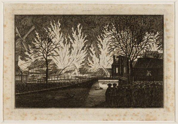 Egelantiersgracht t.h.v. 227 gezien naar de Lijnbaansgracht tijdens de brand van de lijnbaan het