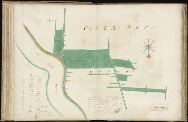 Kaart (rechtsboven genummerd) 15 van kaartboek C van het Burgerweeshuis met zeventien kavels gelegen in het Overaetsveld (Weesp) en nabij het tegenwoordige De Horn (vroeger De Klomp)