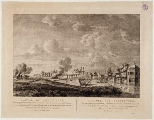 Aanval op Amstelveen door de pruisische troepen onder commando van den Hertog van Brunswijk en verdedigd door Amsterdamse schutters en verdere manschappen onder commando van de kolonel Grave de Portes