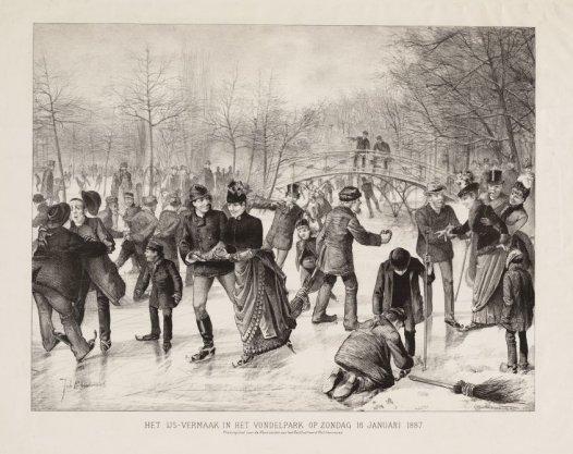 Het ijs-vermaak in het Vondelpark op zondag 16 januari 1887