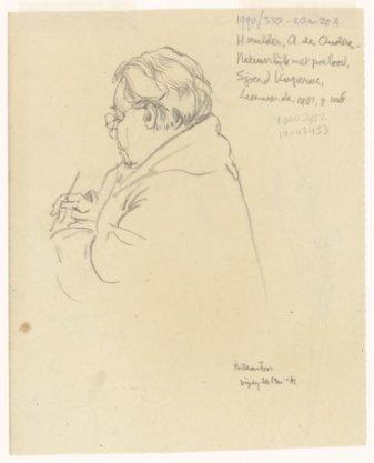 Vrouw zit te schrijven in het postkantoor. Verso: man en vrouw op de rug gezien, gearmd wandelend op de Nieuwezijds Voorburgwal