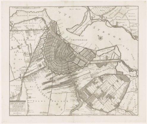 Nieuwe Kaart van de Wydberoemde Koopstat Amsterdam met deszelfs gebied. Benevens alle de plaisante Weegen en Paden buiten de Stat. Als naa Diemen, de geheele Diemer Meer, als meede naa Slooterdyk en den Overtoom, &c
