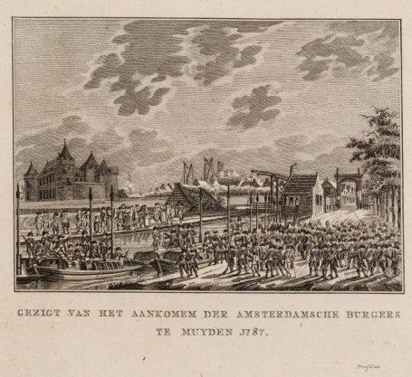 Gezigt van het aankomen der Amsterdamsche burgers te Muyden 1787
