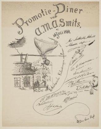 Promotieplaat van A.M.A. Smits, 16 Juli 1884