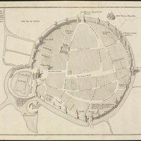 Breda, zoo als die Stadt, in het Jaar 1350, door Jan van Polanen, met muuren en …