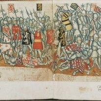 Tekening voorstellende de Slag bij Woeringen in 1375, met in het midden de wapen…
