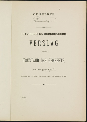 Princenhage - Verslagen van de toestand van de gemeente 1912-01-01