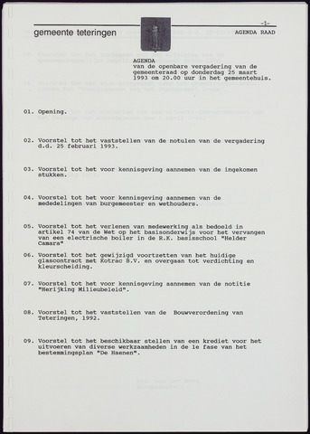 Teteringen - Notulen en bijlagen van de gemeenteraad 1993-03-25