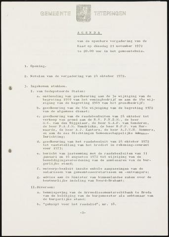 Teteringen - Notulen en bijlagen van de gemeenteraad 1972-11-21