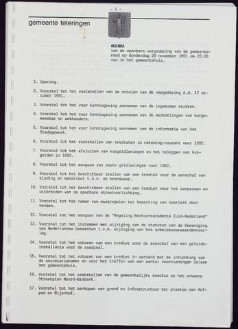 Teteringen - Notulen en bijlagen van de gemeenteraad 1991-11-28