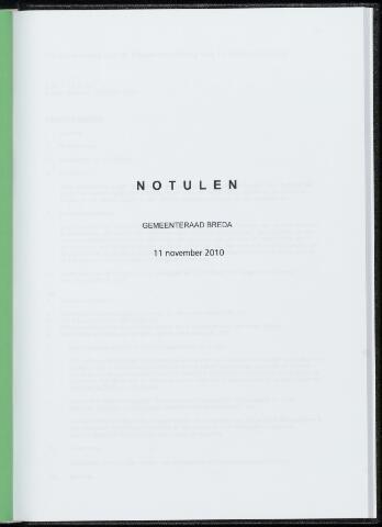 Breda - Notulen van de gemeenteraad 2010-11-11