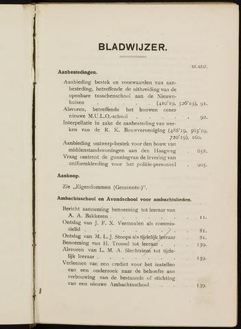 Breda - Indexen op de notulen van de gemeenteraad 1920