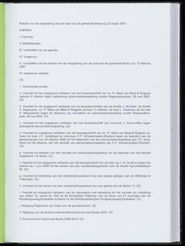 Breda - Notulen van de gemeenteraad 2007-03-22