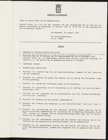 Prinsenbeek - Notulen van de gemeenteraad 1991