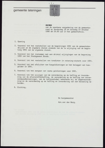 Teteringen - Notulen en bijlagen van de gemeenteraad 1990-10-18