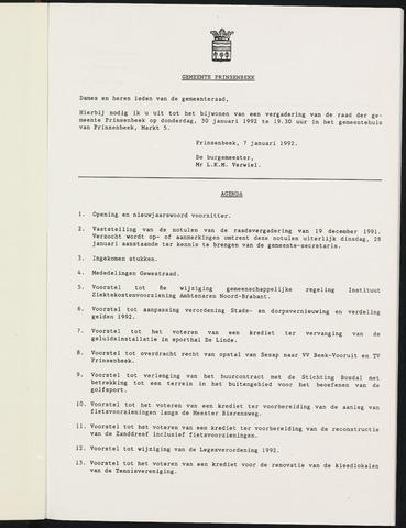 Prinsenbeek - Notulen van de gemeenteraad 1992