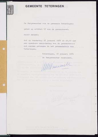 Teteringen - Notulen en bijlagen van de gemeenteraad 1984