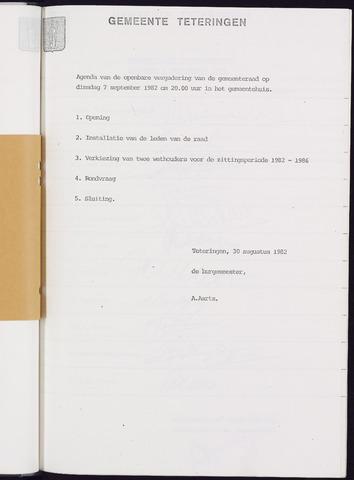 Teteringen - Notulen en bijlagen van de gemeenteraad 1982-09-07