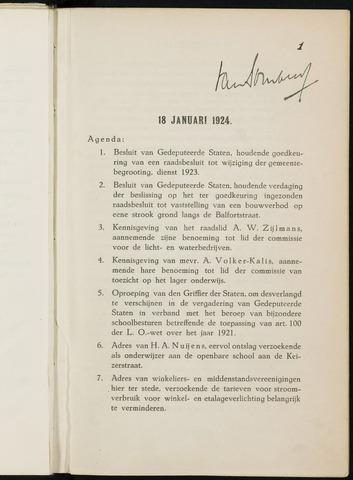 Breda - Notulen van de gemeenteraad 1924-01-01