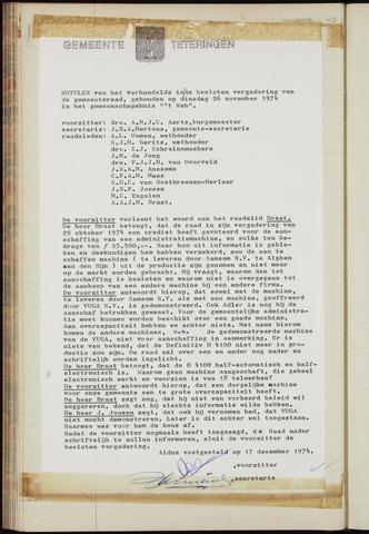 Teteringen - Notulen en bijlagen van de gemeenteraad 1974