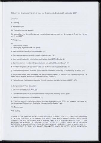 Breda - Notulen van de gemeenteraad 2007-09-20
