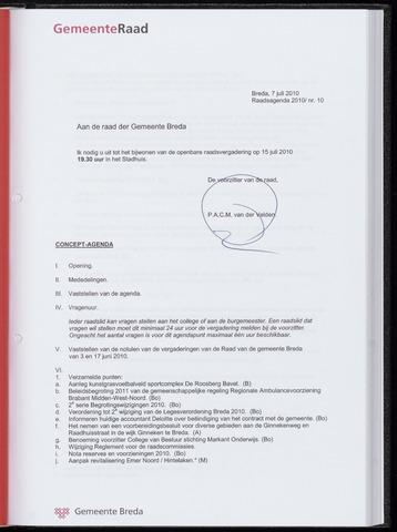 Breda - Bijlagen bij de notulen van de gemeenteraad 2010-07-15