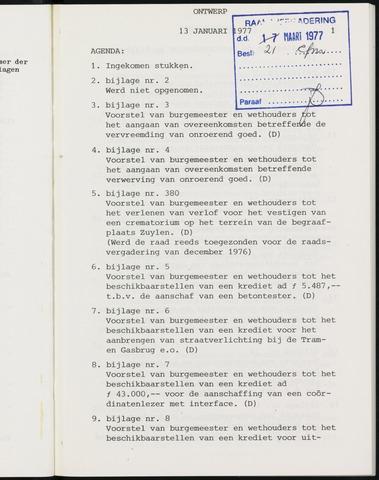 Breda - Notulen van de gemeenteraad 1977-01-01