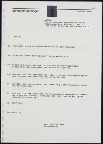Teteringen - Notulen en bijlagen van de gemeenteraad 1994-04-12