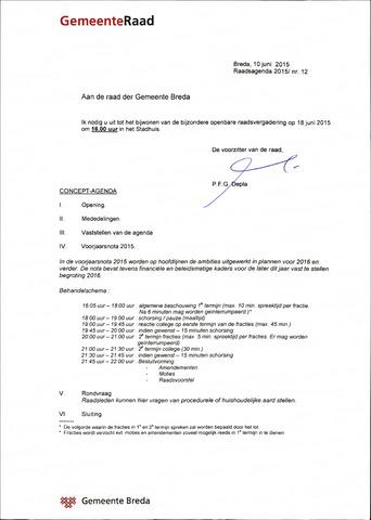 Breda - Bijlagen bij de notulen van de gemeenteraad 2015-06-18