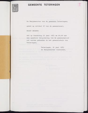 Teteringen - Notulen en bijlagen van de gemeenteraad 1983-06-23