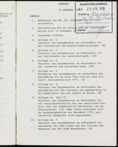 Breda - Notulen van de gemeenteraad 1976-01-01