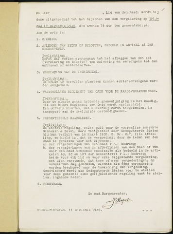 Nieuw-Ginneken - Notulen en bijlagen van de gemeenteraad 1945