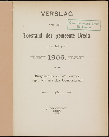 Breda - Verslagen van de toestand van de gemeente 1906
