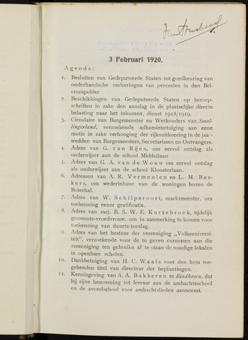 Breda - Notulen van de gemeenteraad 1920