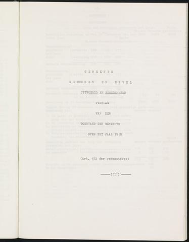 Ginneken en Bavel - Verslagen van de toestand van de gemeente 1915