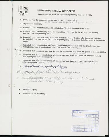 Nieuw-Ginneken - Notulen en bijlagen van de gemeenteraad 1981