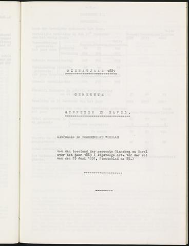 Ginneken en Bavel - Verslagen van de toestand van de gemeente 1889