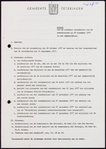 Teteringen - Notulen en bijlagen van de gemeenteraad 1977-11-29