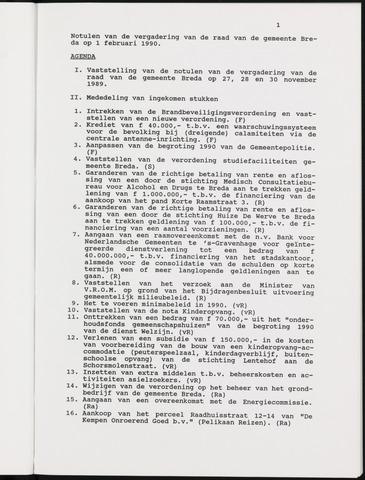 Breda - Notulen van de gemeenteraad 1990-01-01