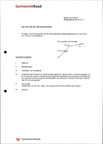 Breda - Bijlagen bij de notulen van de gemeenteraad 2015-06-15